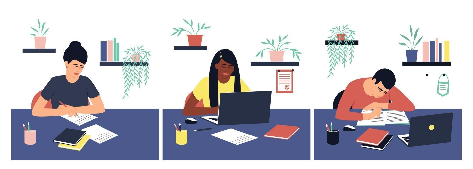 Set of students doing homework vector