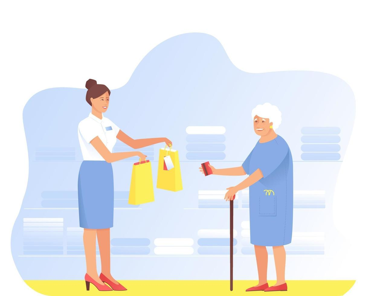 Aged Woman makes purchases from the seller in the store vector
