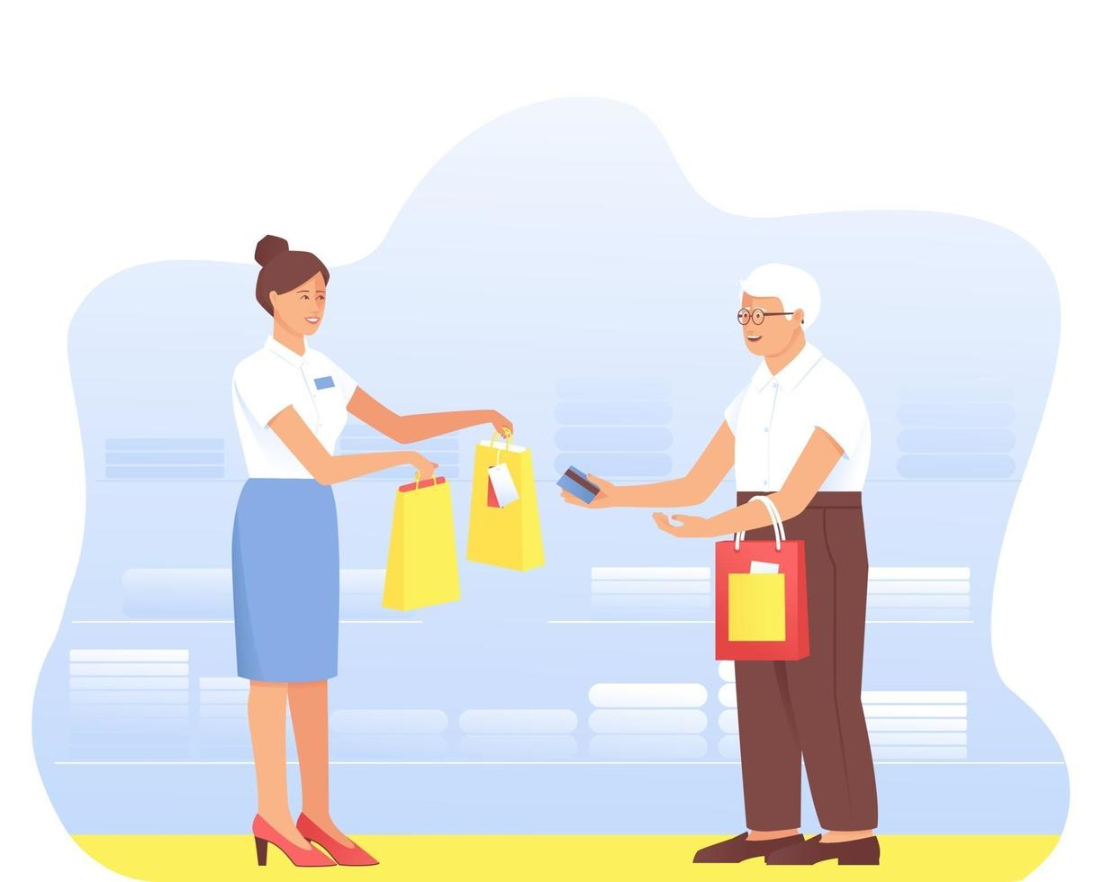 An aged man makes purchases from a seller in a store vector