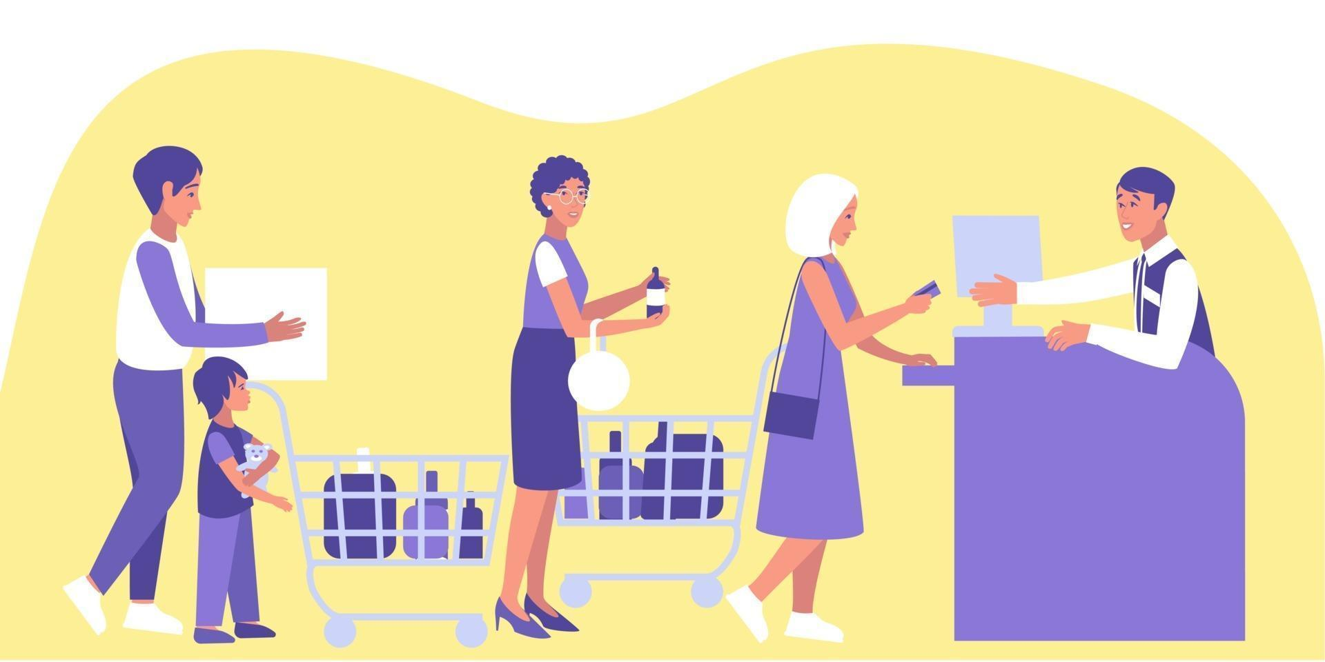 Male and female customers stand in queue at the checkout vector