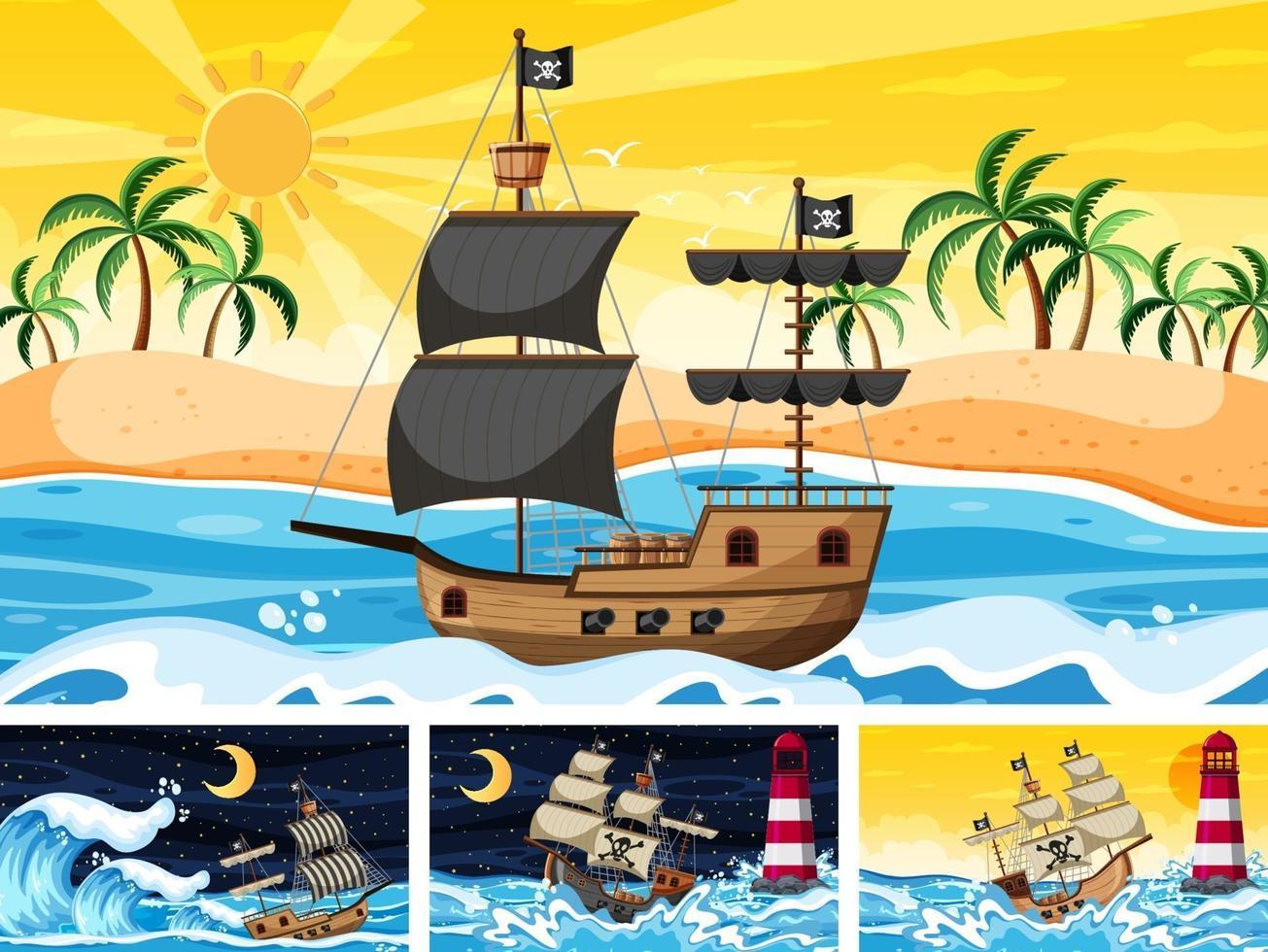 conjunto de océano con barco pirata en diferentes momentos escenas en estilo de dibujos animados vector