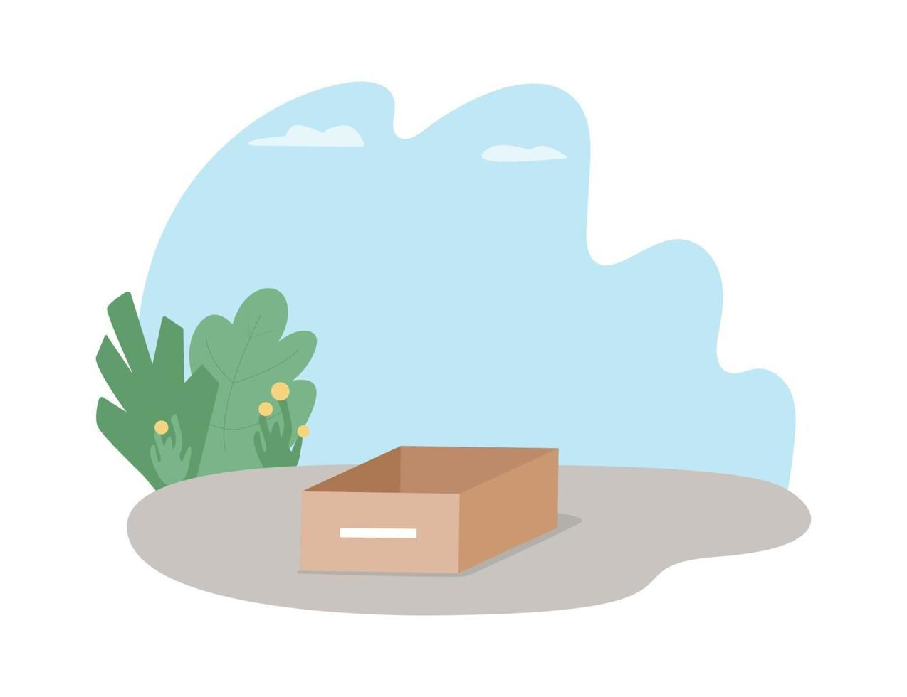 caja de cartón en la calle banner web de vector 2d, cartel
