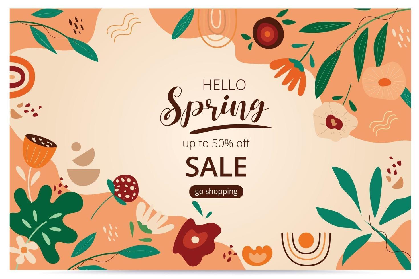 Hello spring sale banner with blossom bloom. Sale banner. Vector illustration. Hand drawn. Organic flower design.
