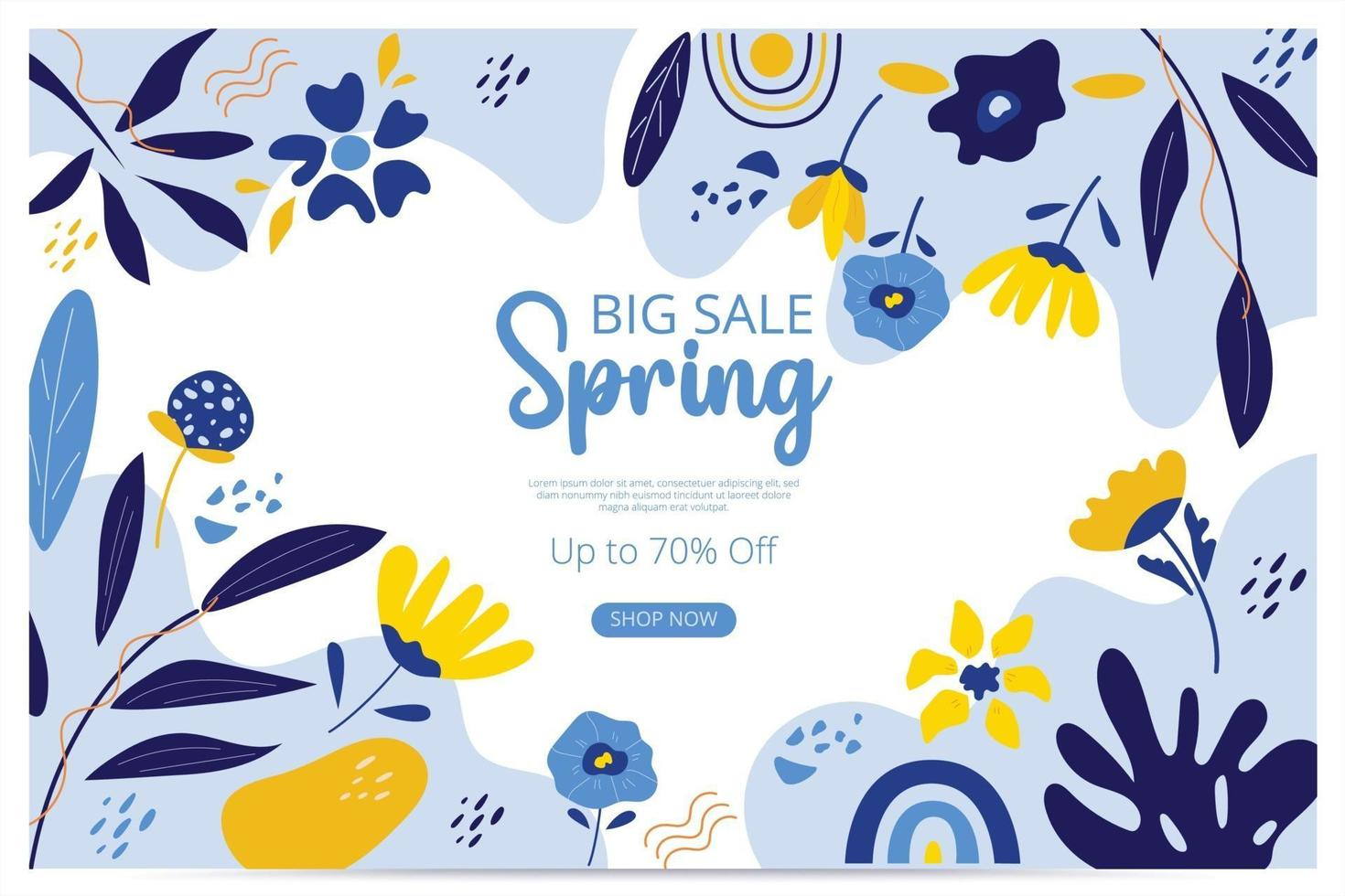 Big sale spring banner with blossom bloom. Sale banner. Vector illustration. Hand drawn. Organic flower design.