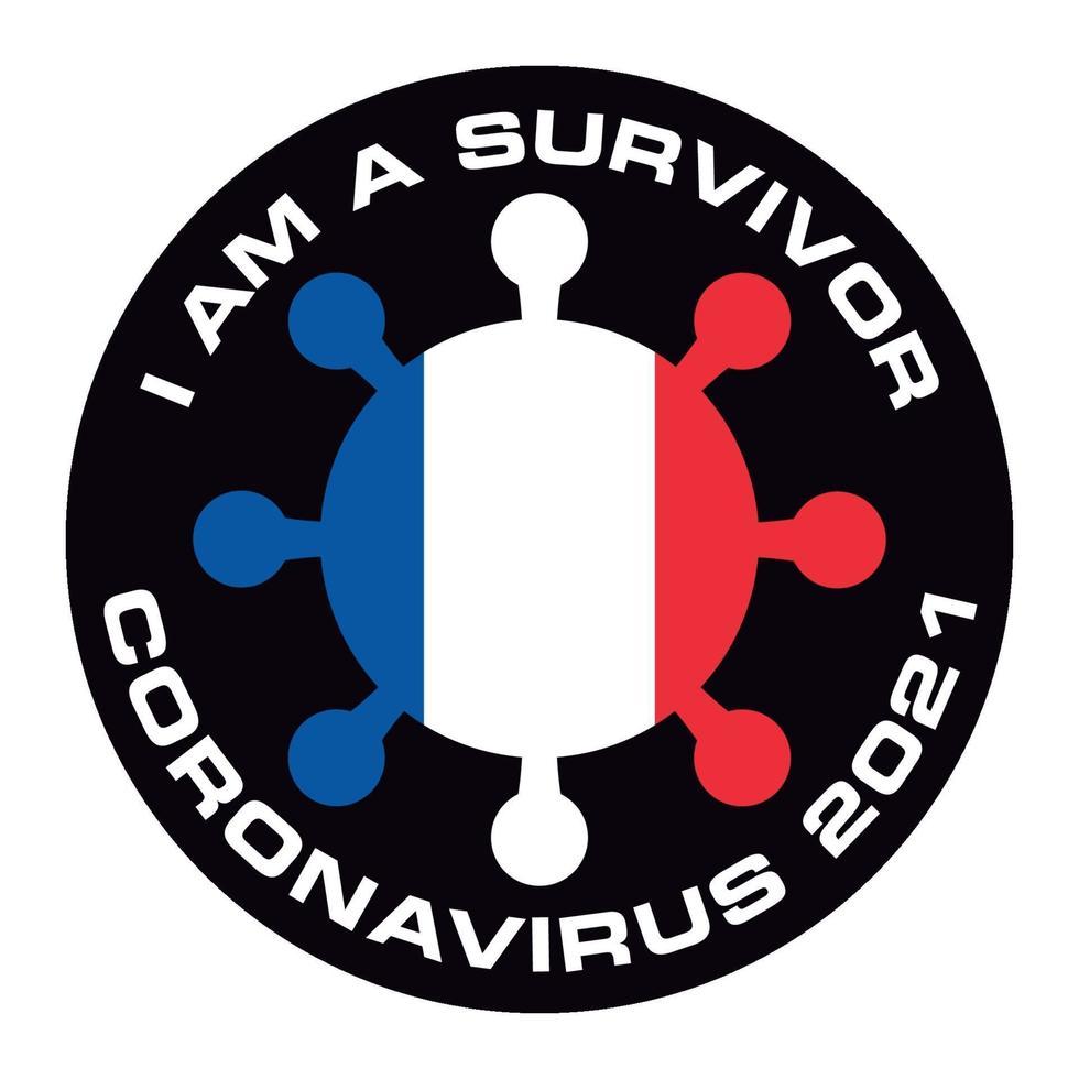 soy superviviente coronavirus 2021 bandera de francia pegatina vector