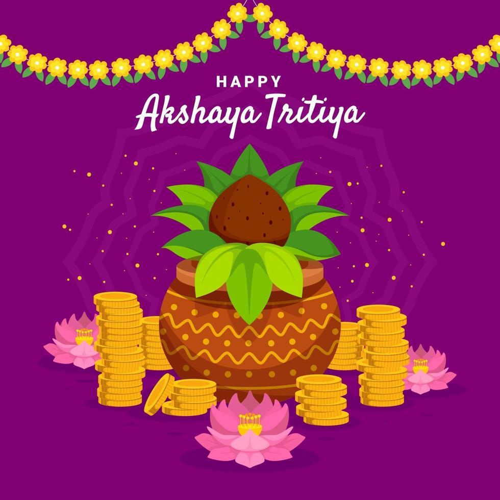 feliz diseño akshaya tritiya vector