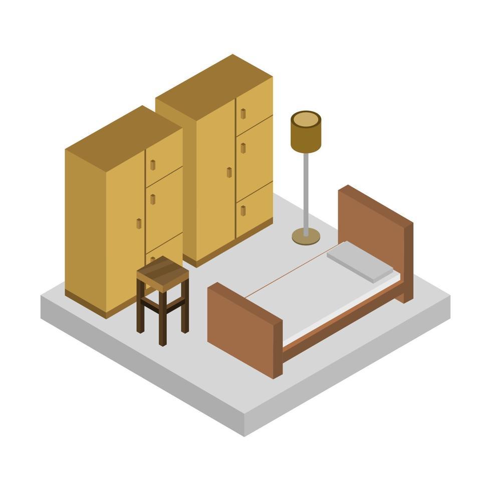 dormitorio isométrico sobre fondo blanco vector