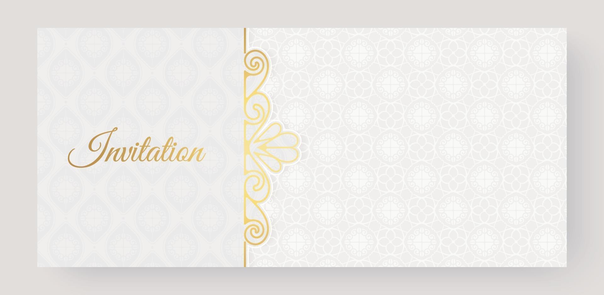 patrón ornamental de lujo blanco invitación fondo estilo vector