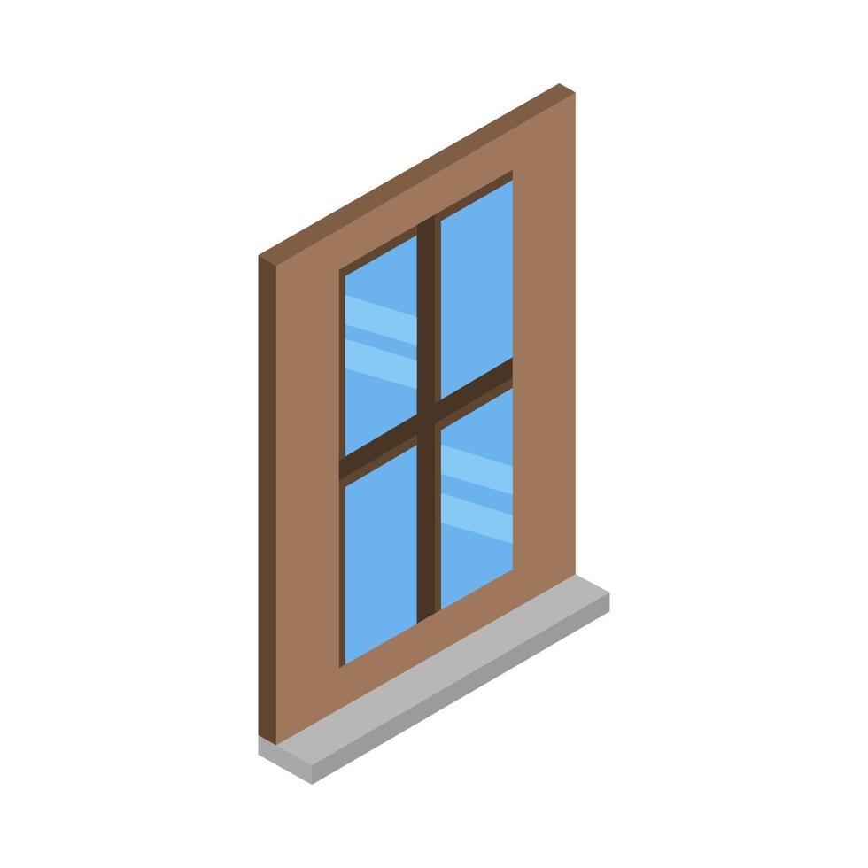 ventana isométrica sobre fondo blanco vector