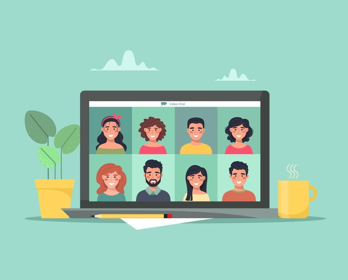 Video conference and communication of people for training and work issues. Teamwork remotely online. Vector illustration in flat style.