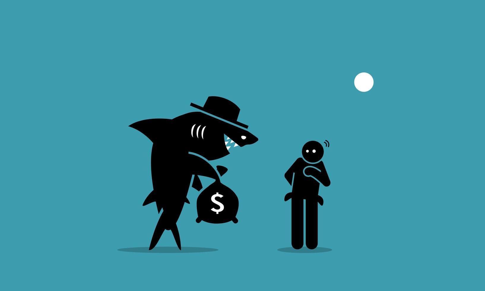 Loan shark and a poor man. vector