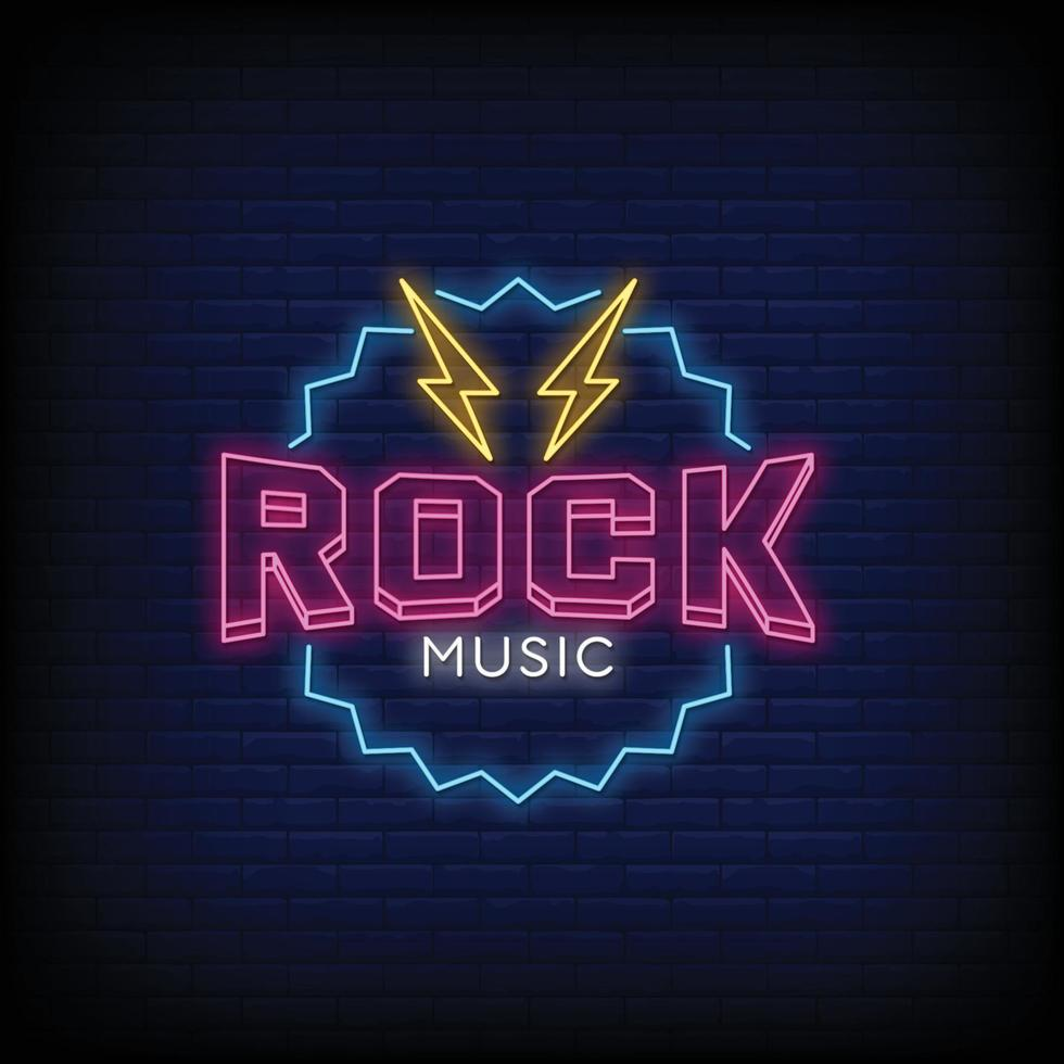 Rock Music Neon Signs Style Text Vector