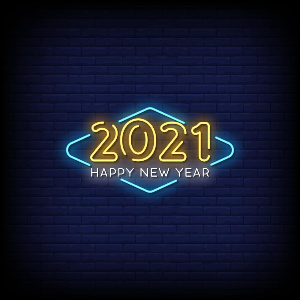 Happy New Year 2021 Neon Signs Style Text Vector