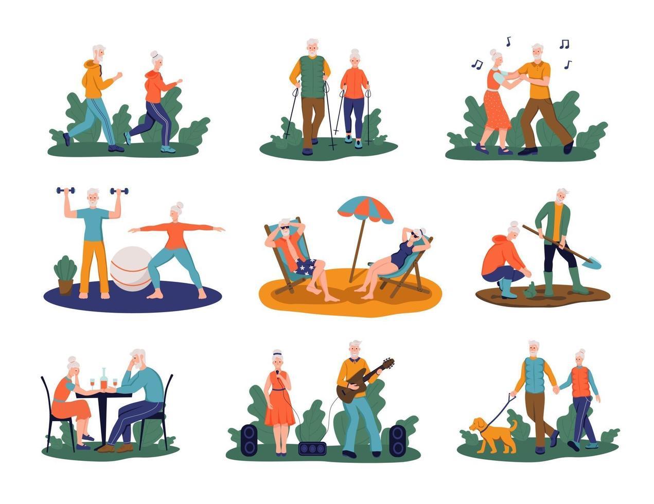 conjunto de personas mayores. los jubilados corren, hacen yoga, nordic walking, pasean a un perro, trabajan en el jardín, toman el sol, cantan, se sientan en un café, bailan. concepto de vejez activa. ilustración vectorial. vector