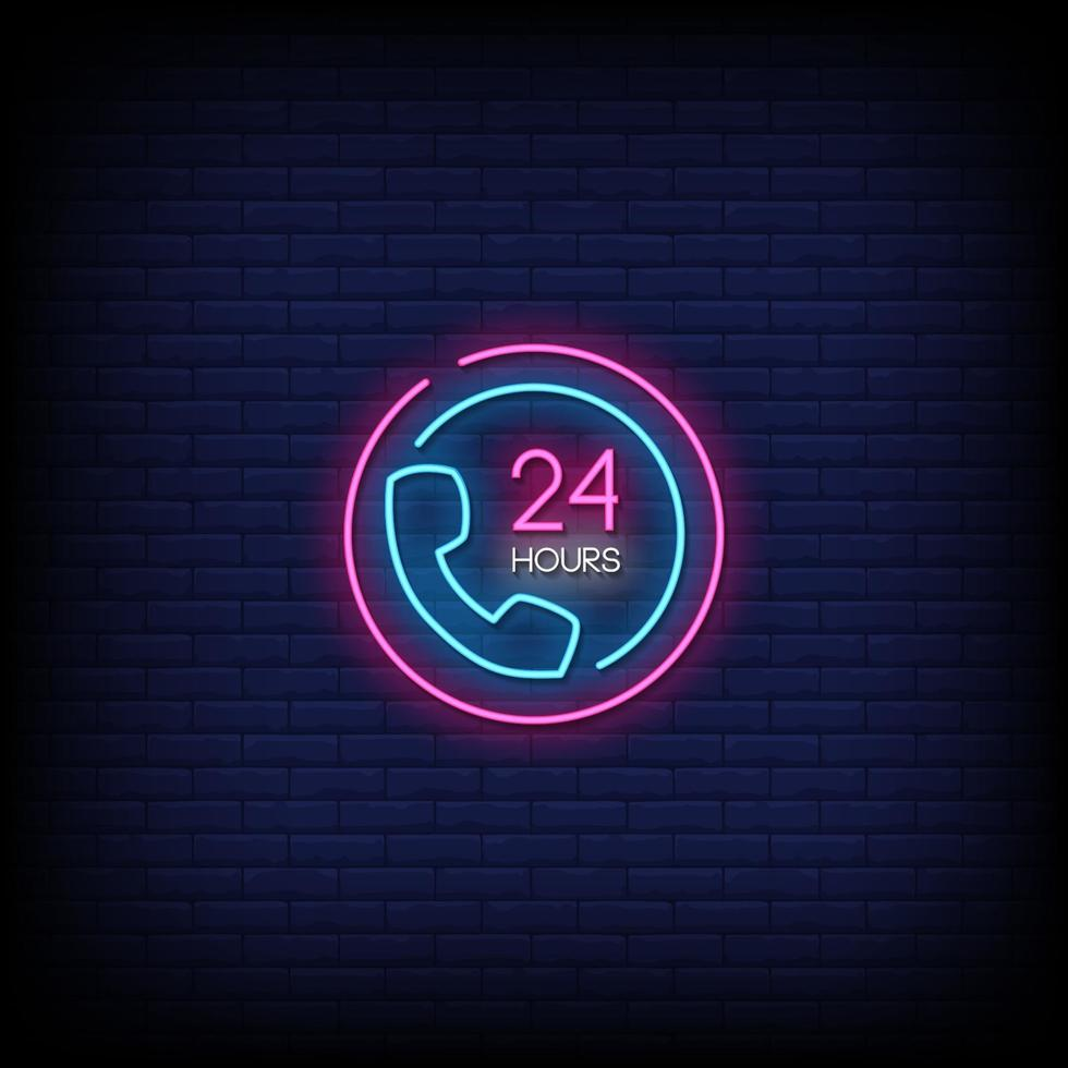 24 hours service Neon Signs Style Text Vector