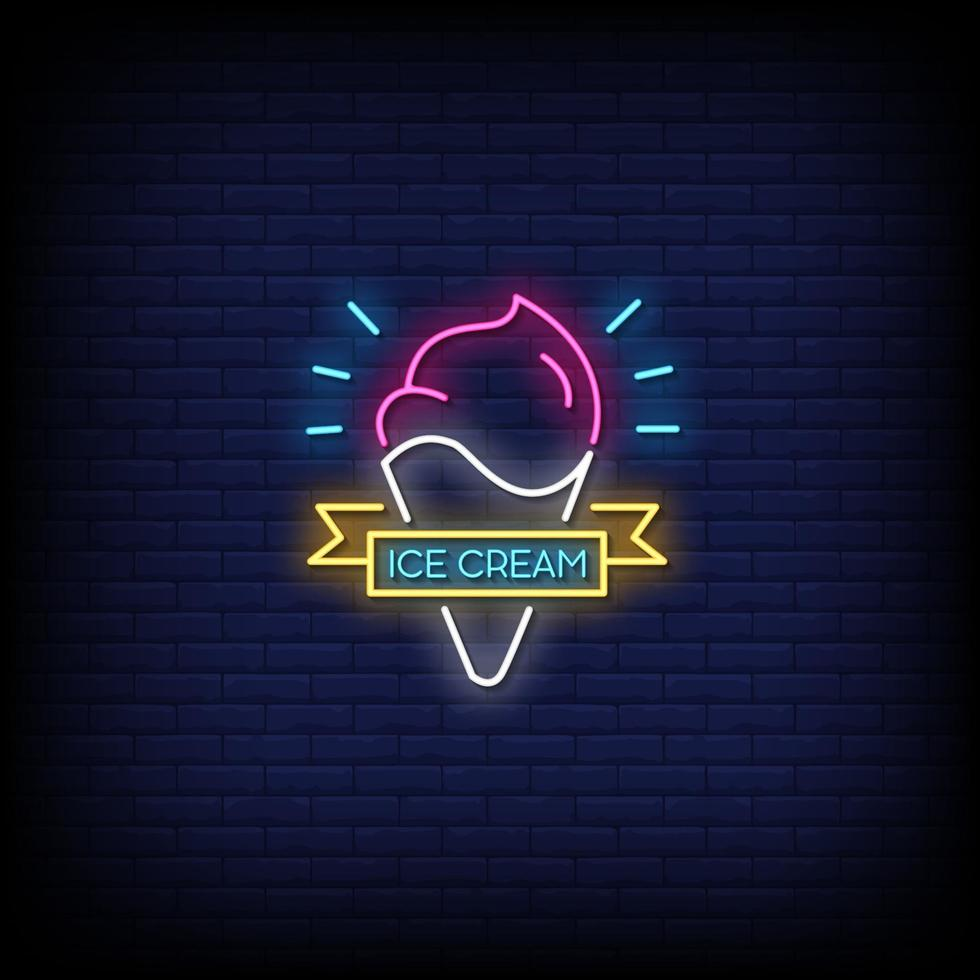 Ice Cream Neon Signs Style Text Vector