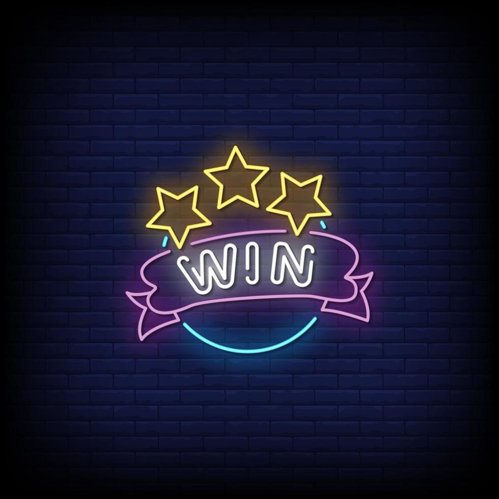 Win Neon Signs Style Text Vector
