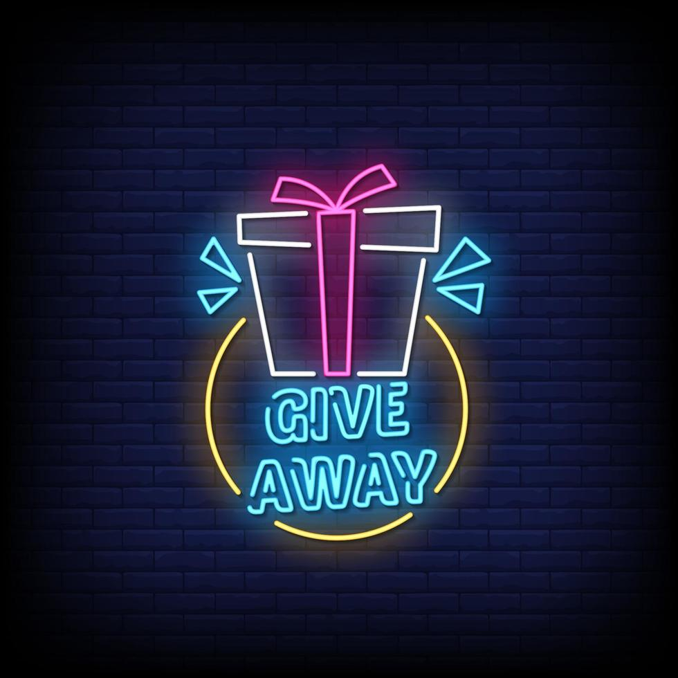 Giveaway Neon Signs Style Text Vector