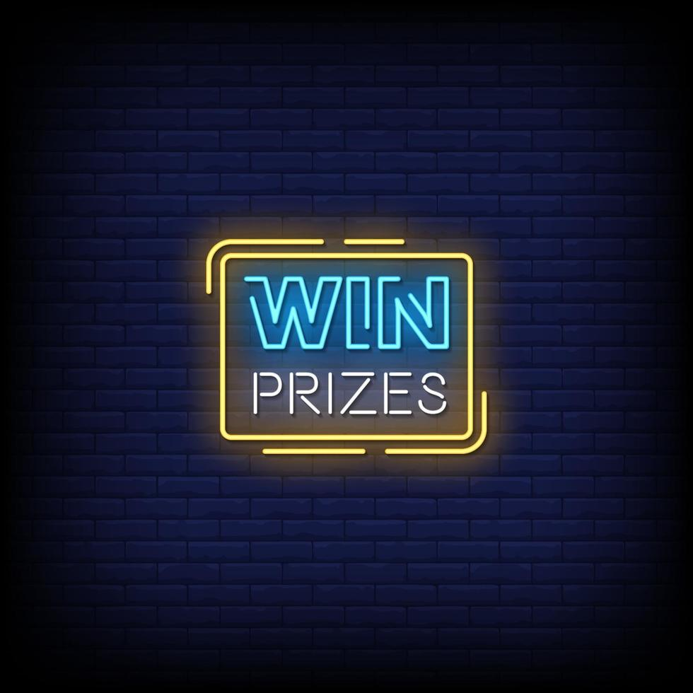 Win Prizes Neon Signs Style Text Vector