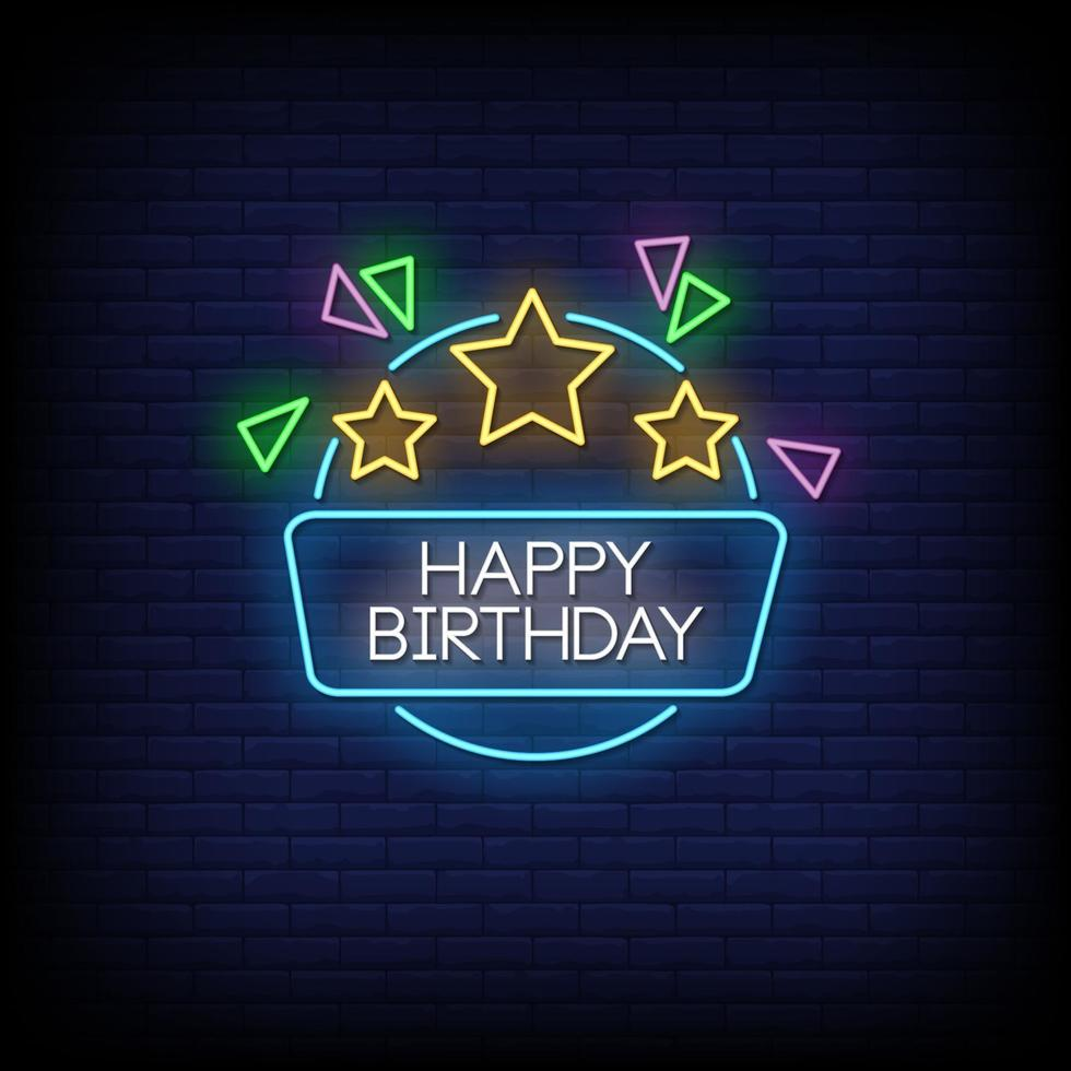 Happy Birthday Neon Signs Style Text Vector