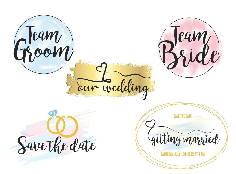 Wedding invitation modern design elements. Designers toolkit vector