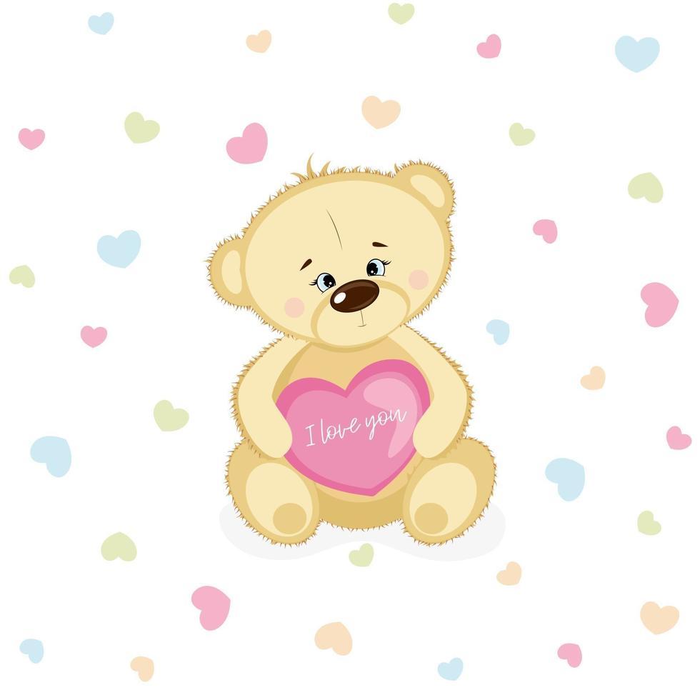 lindo oso de peluche sonriente enamorado de corazón rosa. postal del día de san valentín. vector