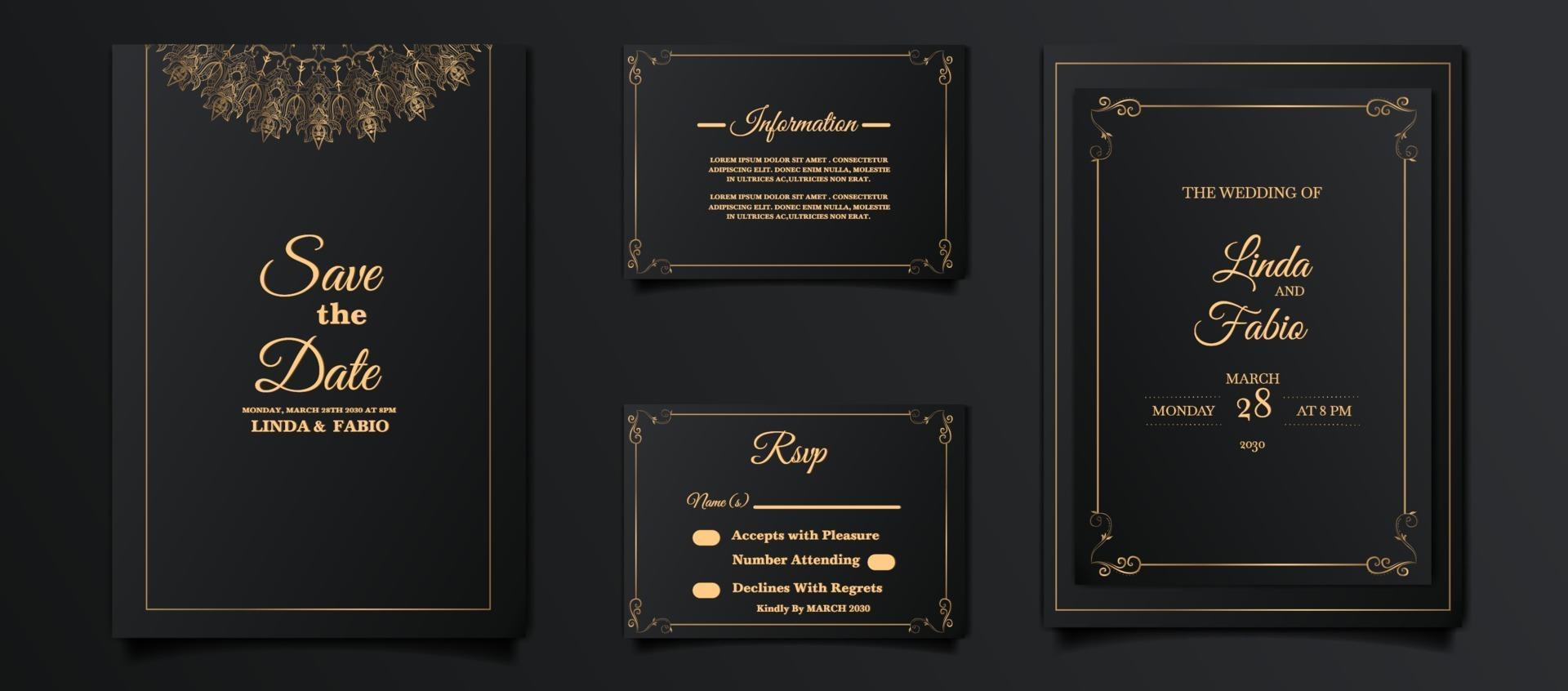 luxury wedding invitation card design set vector