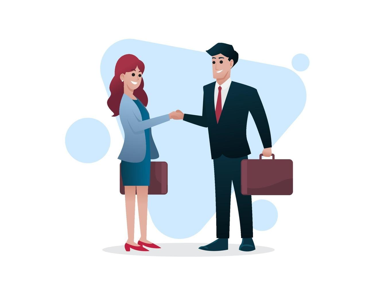 Man and woman with briefcase shake hands, business deal or investor concept, vector illustration