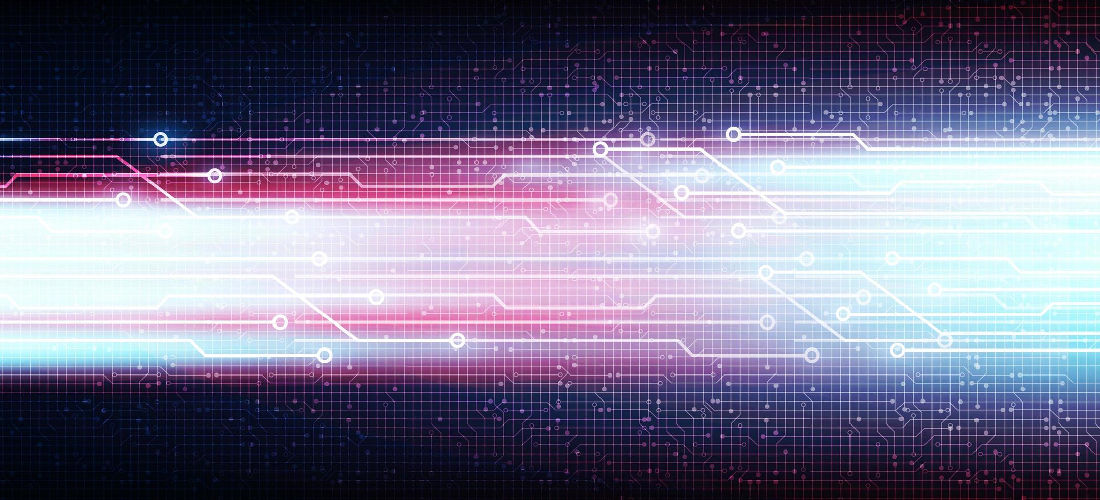 Línea de tecnología de velocidad en el fondo del circuito de microchip, diseño de concepto digital e internet de alta tecnología vector