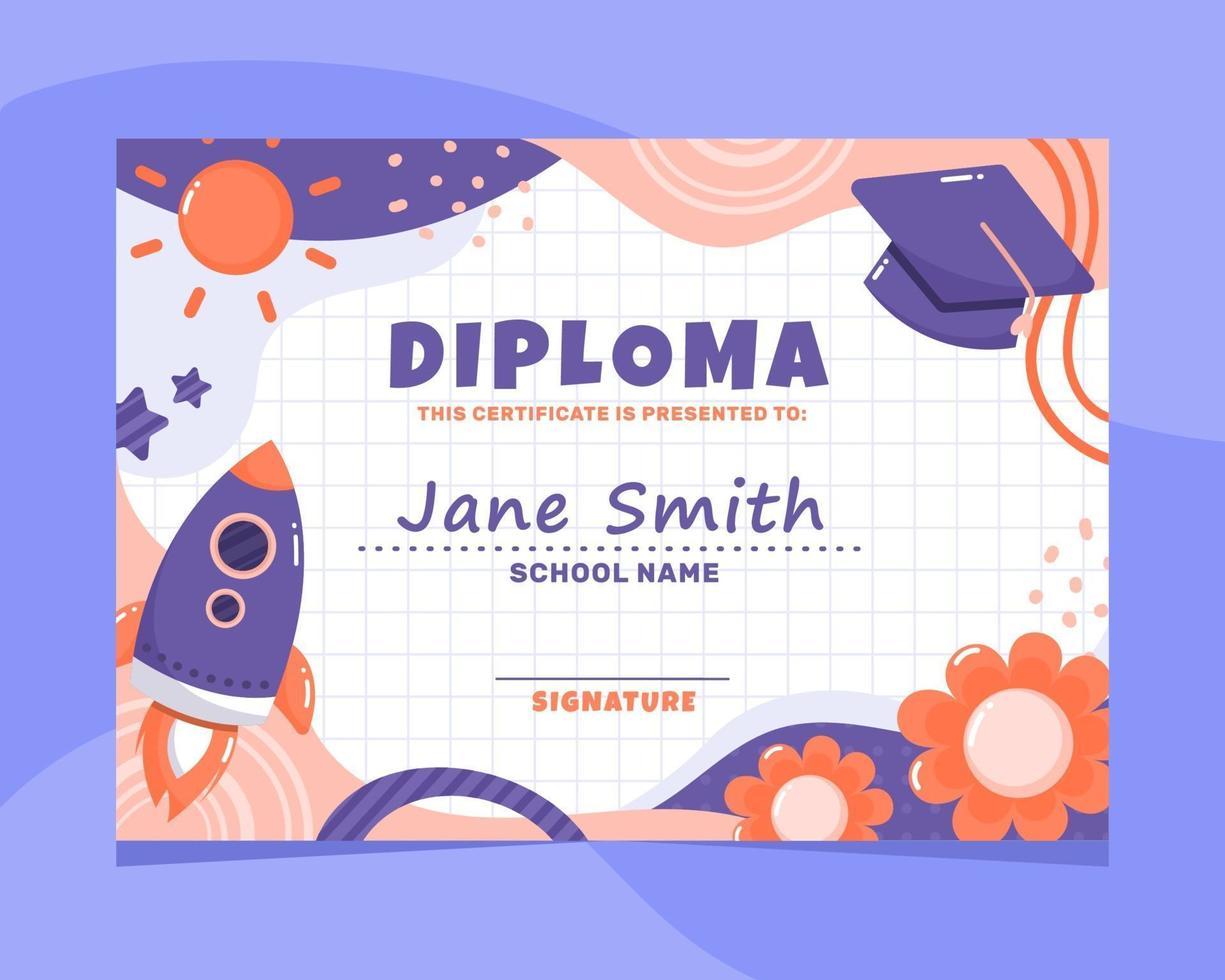 certificado de diploma de jardín de infantes vector