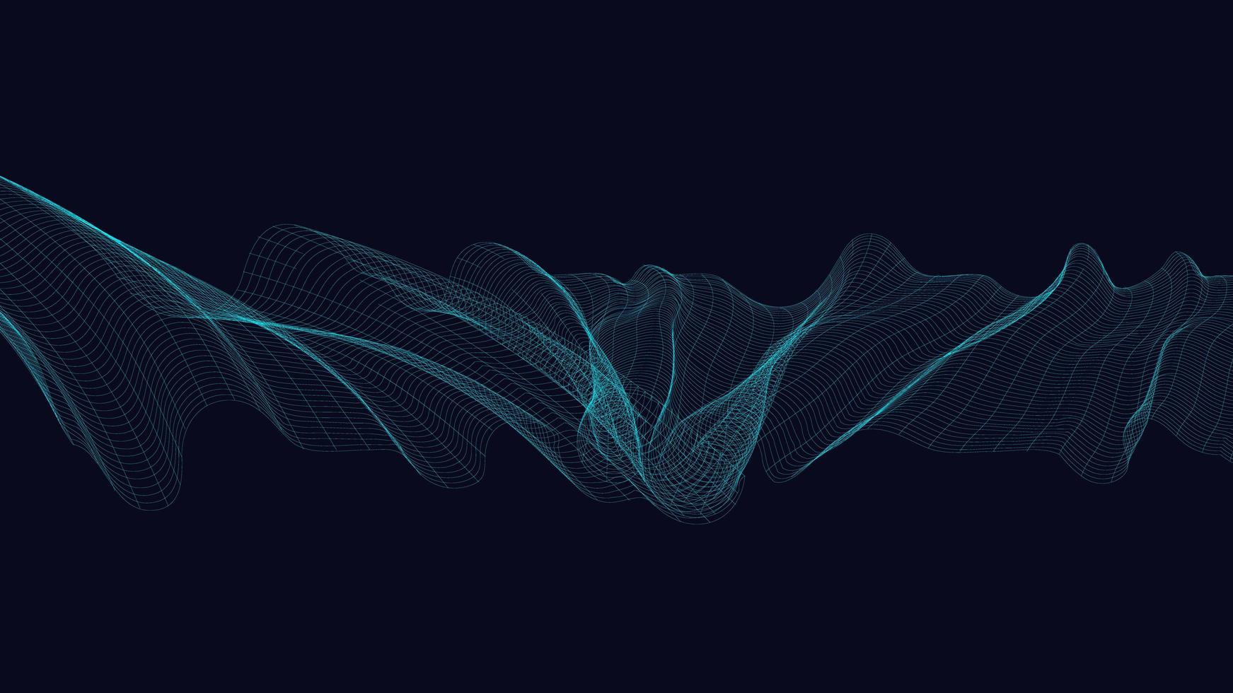 Onda de sonido digital de neón sobre fondo azul oscuro vector
