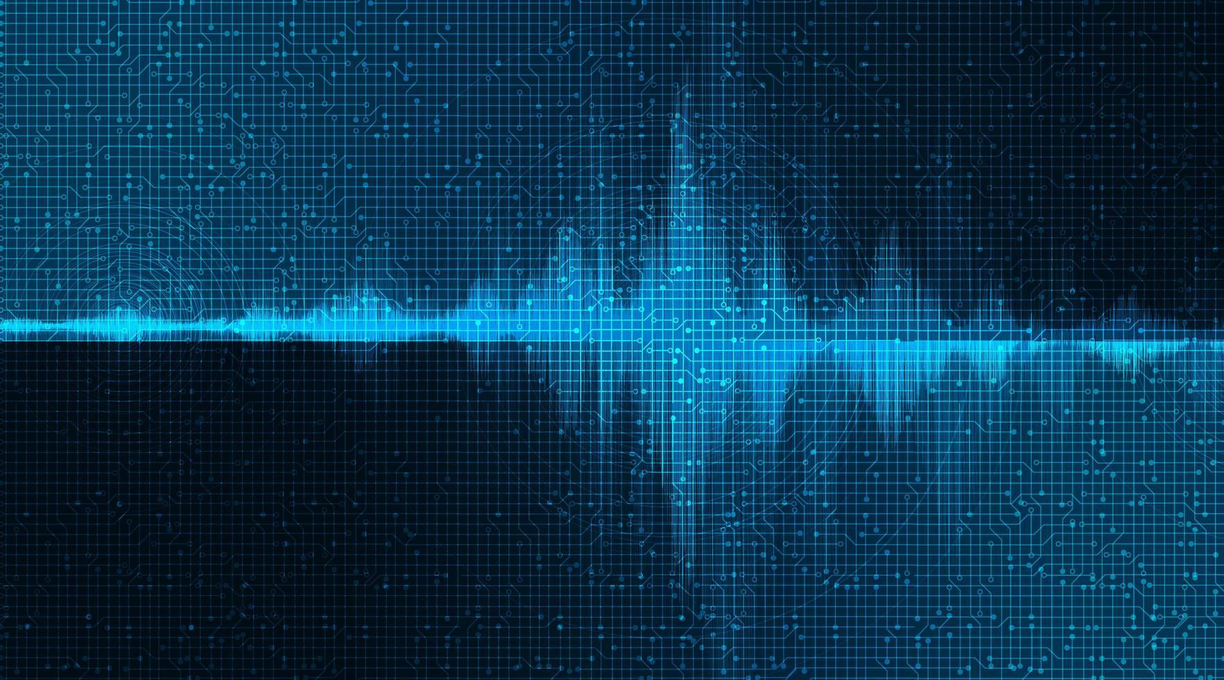 Onda de sonido digital baja y alta escala de Richter sobre fondo azul. vector