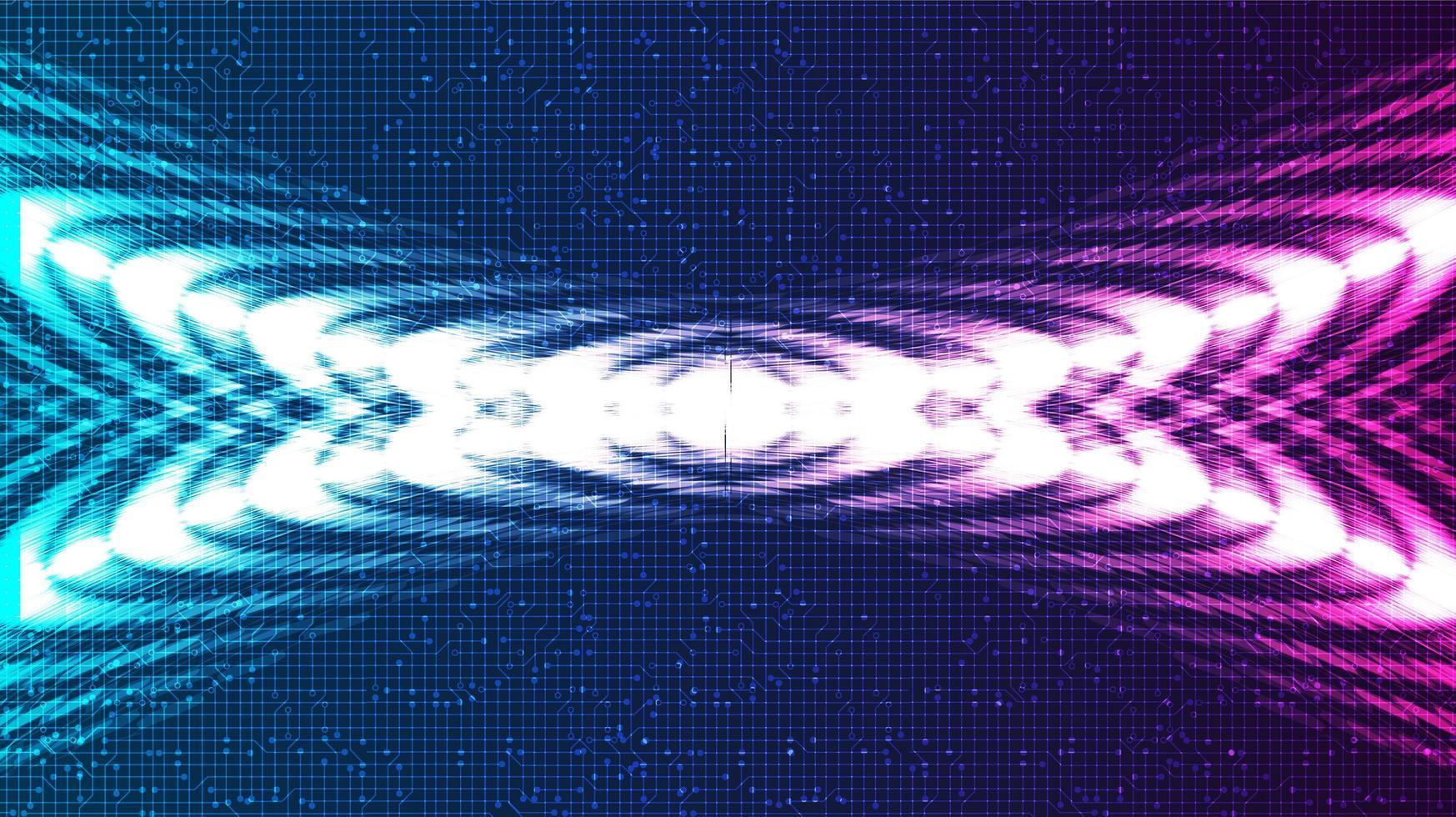 Resumen de onda de sonido digital violeta y azul y concepto de onda de terremoto vector