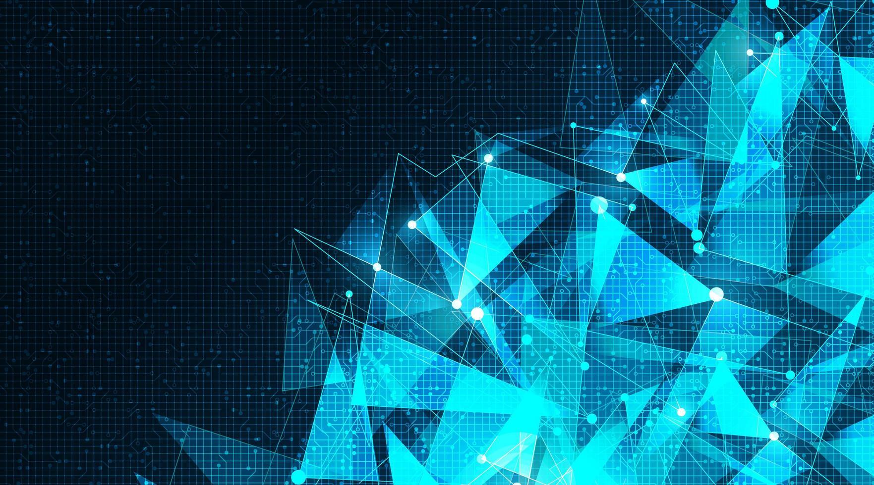 Tecnología de polígono cibernético futurista sobre fondo de microchip, diseño de concepto de alta tecnología y ciencia vector