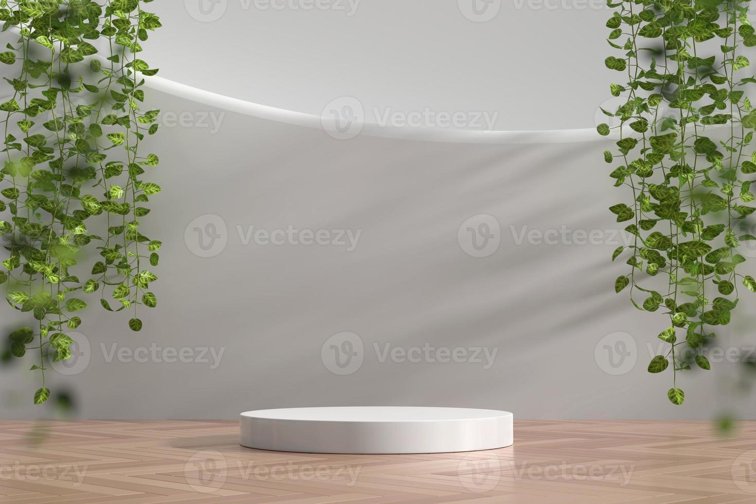 Escaparate de podio blanco abstracto para exhibición de productos con hiedra, render 3d foto