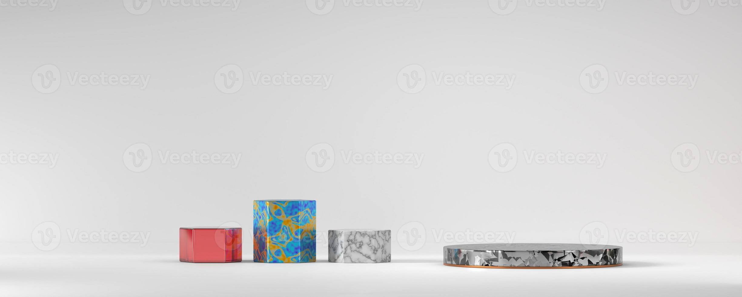 Various marble stage podium platform for product, 3D render photo