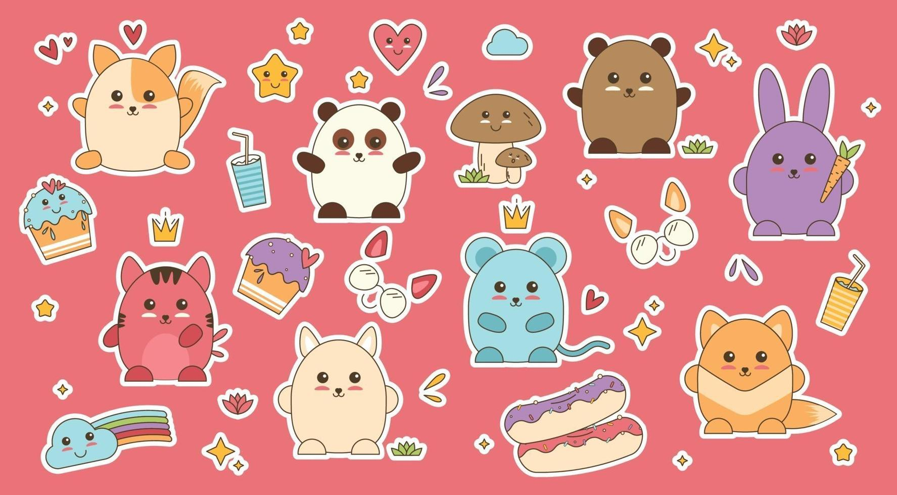 Kawaii animals patch sticker vector