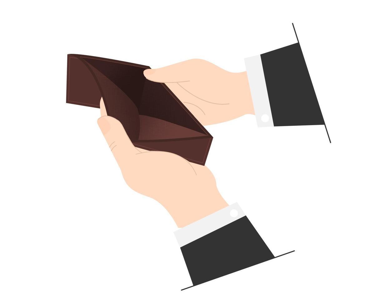 El hombre no tiene dinero, desempleado y arruinado mira en su billetera vacía. vector