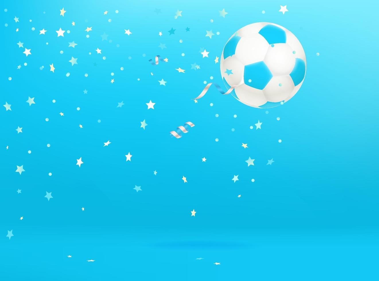 Balón de fútbol con confeti. vector