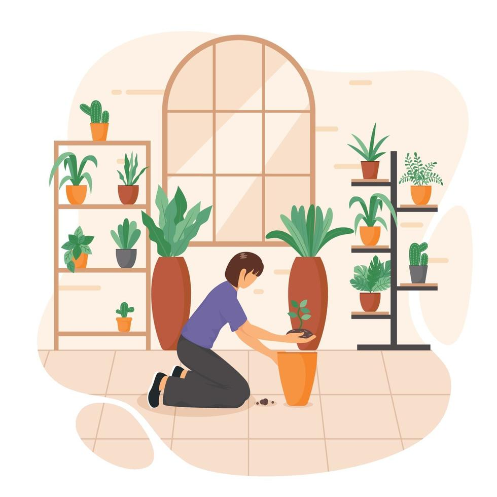 Planting Tree at Home Concept vector