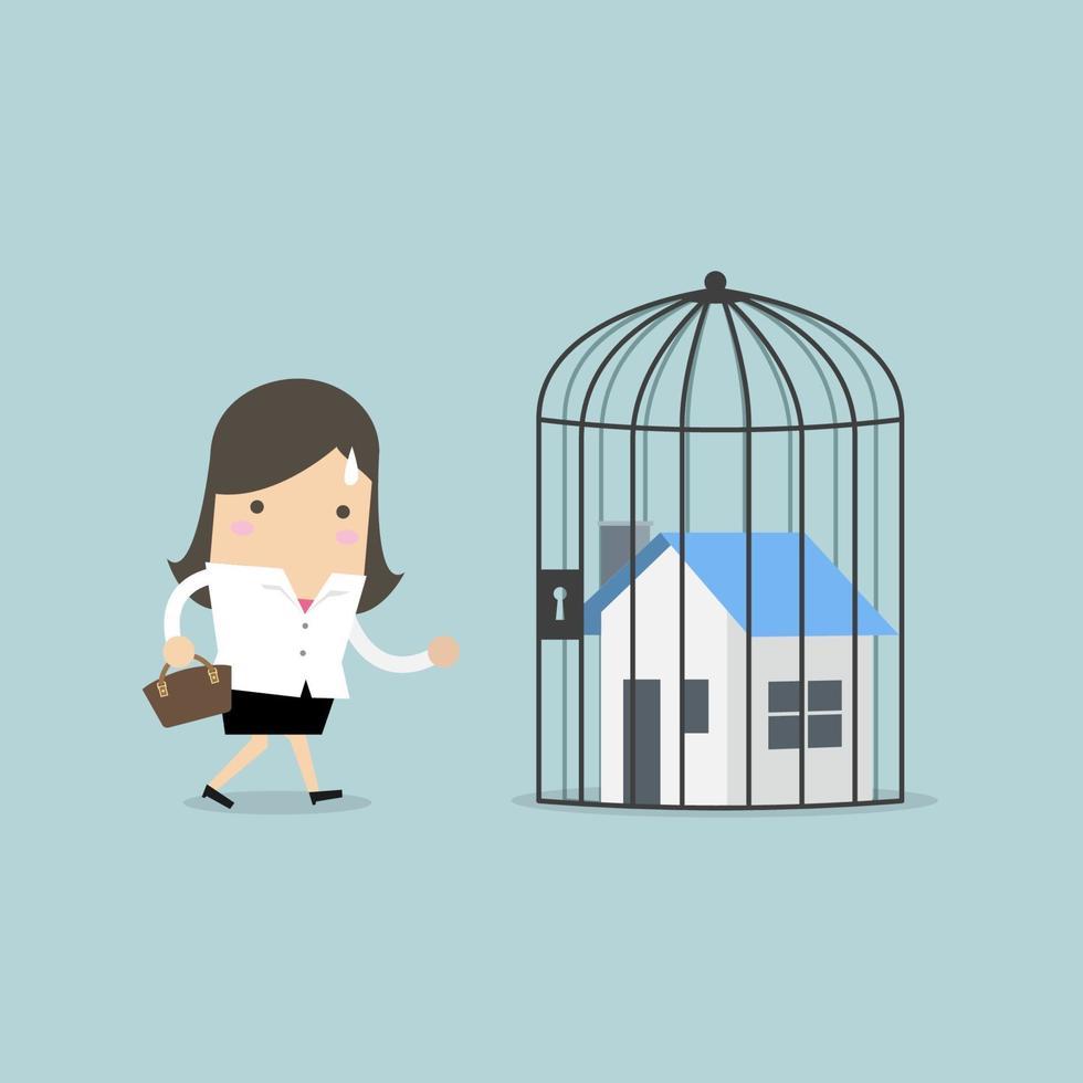 empresaria con casa cerrada dentro de la jaula, ejecución hipotecaria. vector