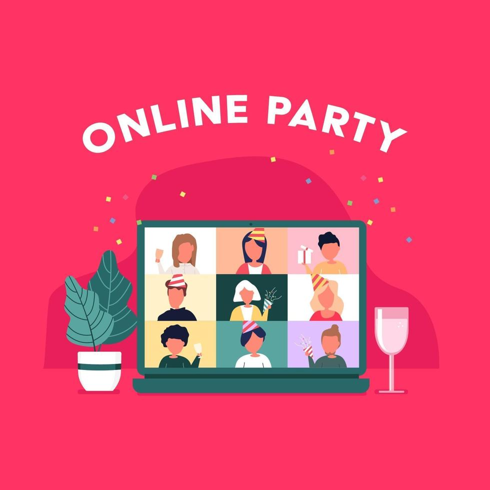 Party from home. People meeting online video conference on a computer on Christmas holiday. Christmas online party. Happy friends celebrating new year on video chat. vector