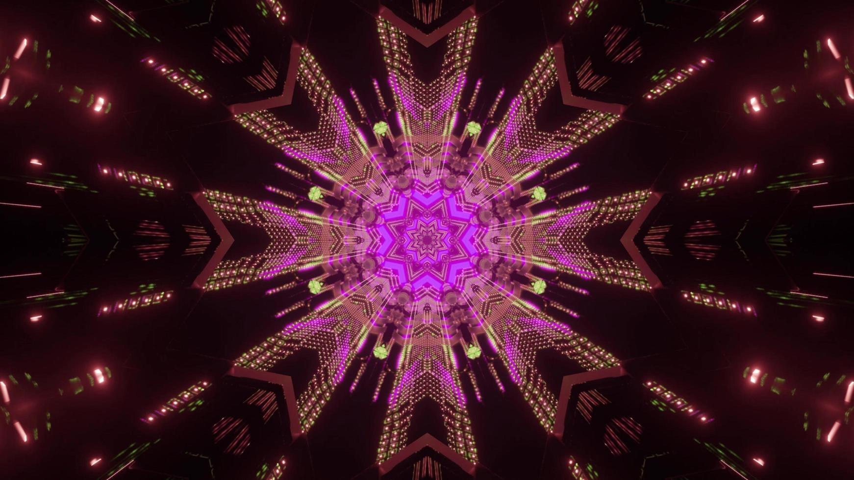Gleaming neon geometric ornament 3d illustration photo