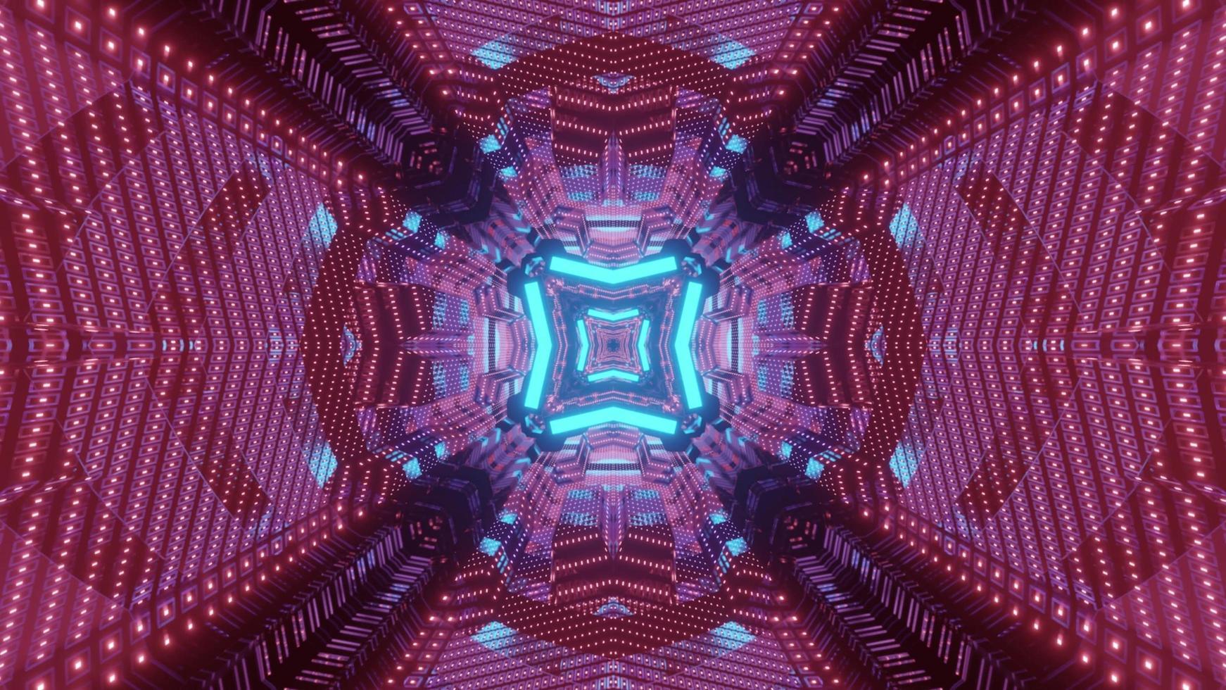 Futuristic tunnel with geometric design in neon lights 3d illustration photo