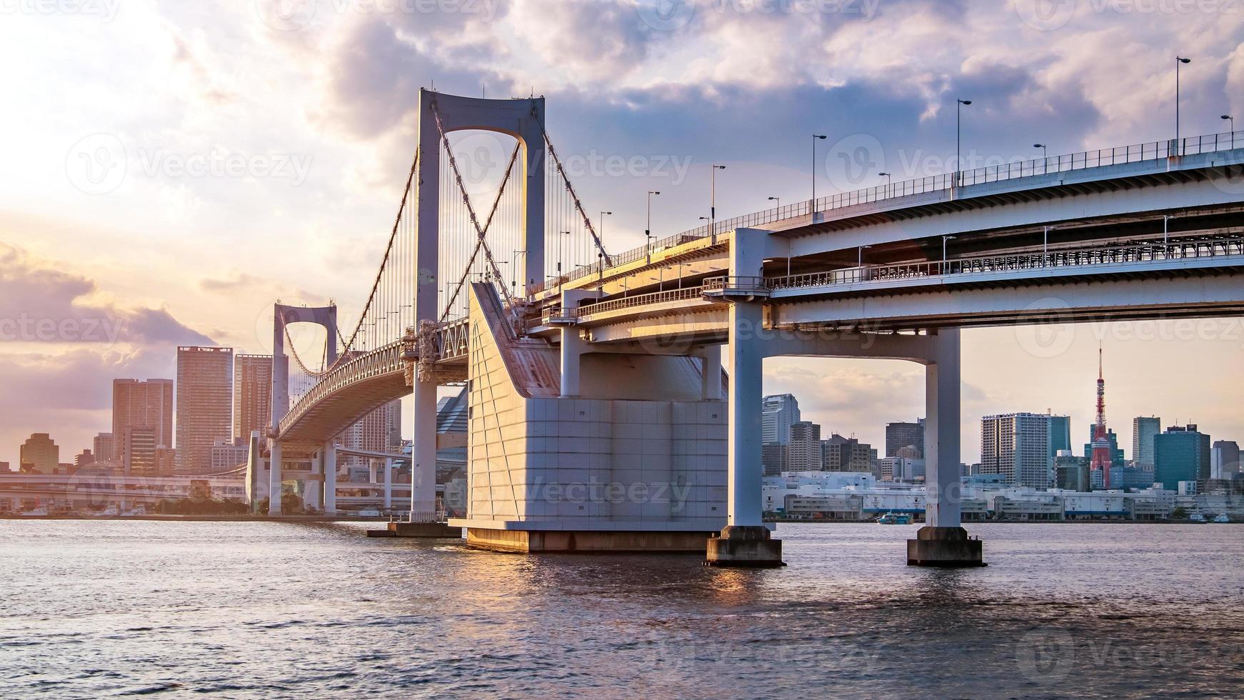 Vista panorámica del horizonte de Tokio al atardecer, Japón foto