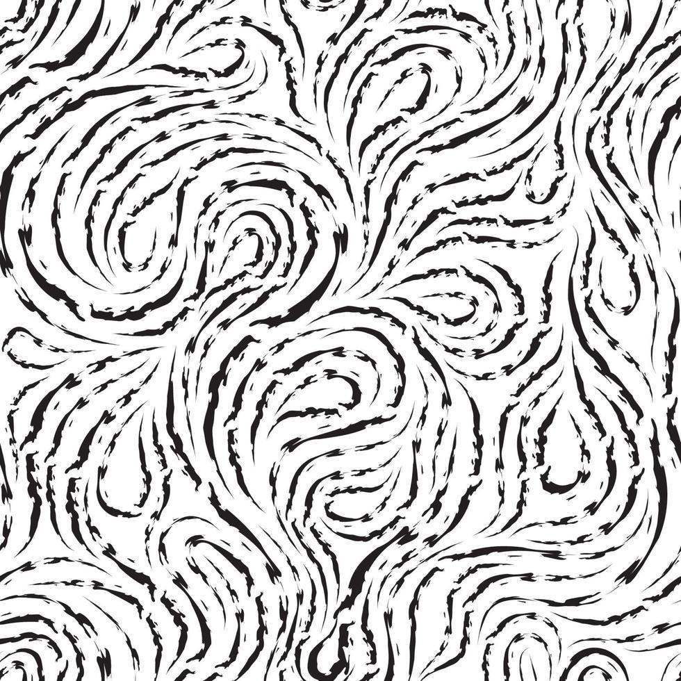 Patrón transparente de vector abstracto en color negro de líneas rasgadas en forma de espirales de bucles y rizos. textura para decoración de telas o envoltorios en negro aislado sobre fondo blanco.