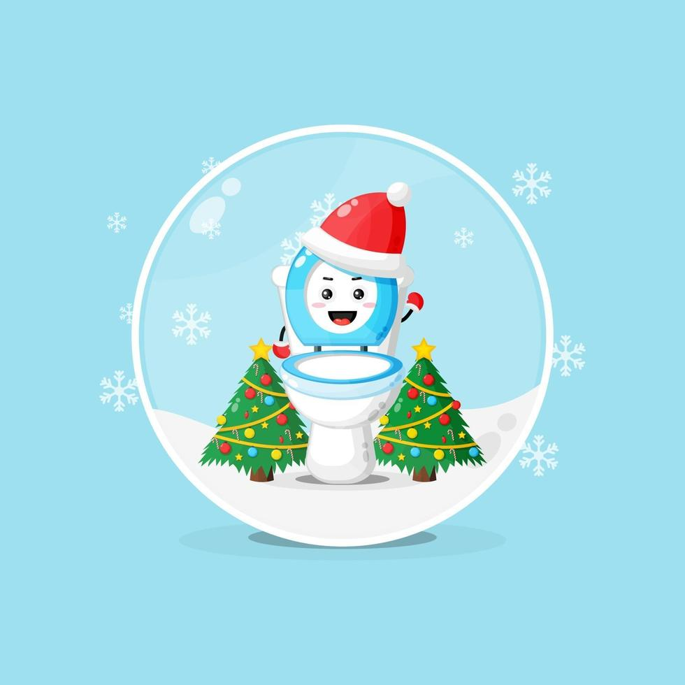 Cute toilet bowl wearing a Christmas hat in a snowglobe vector