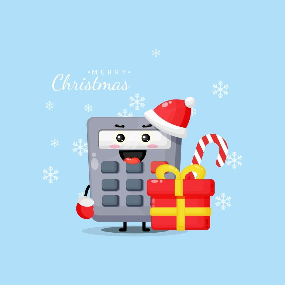 Cute calculator mascot wishes you a Merry Christmas vector