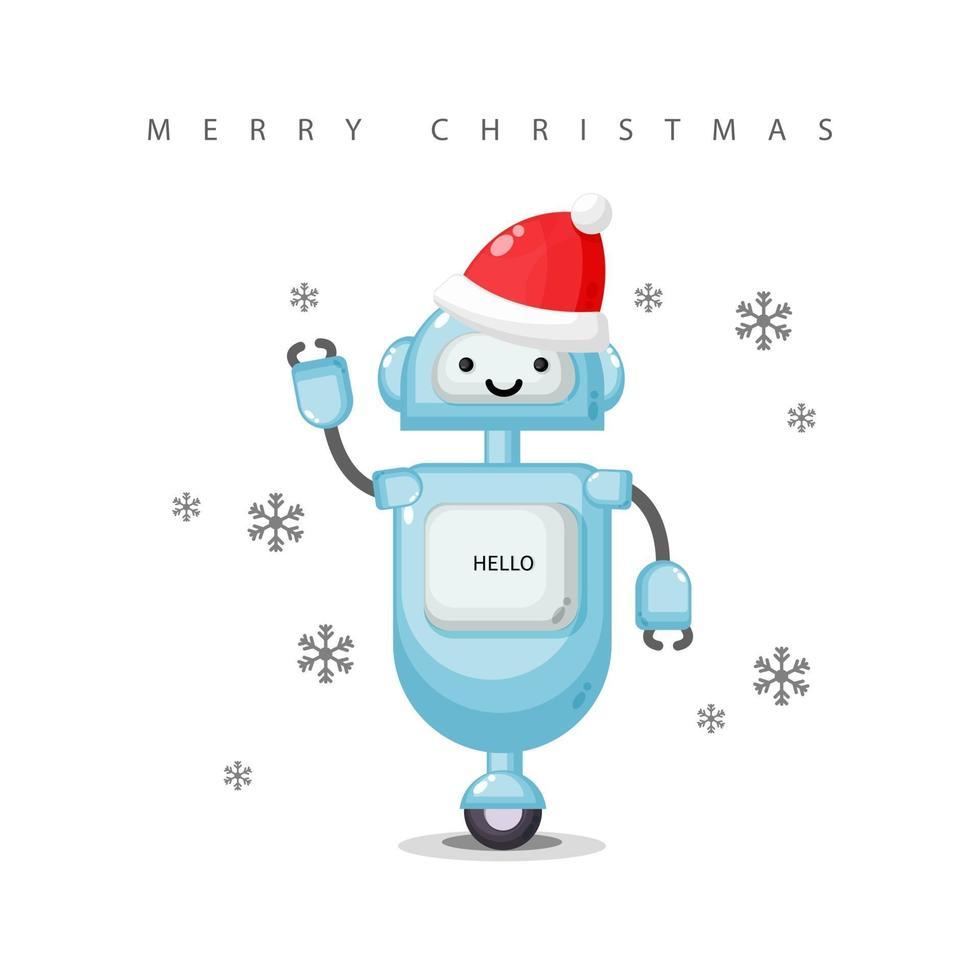 Cute robot wearing a Santa Claus hat vector