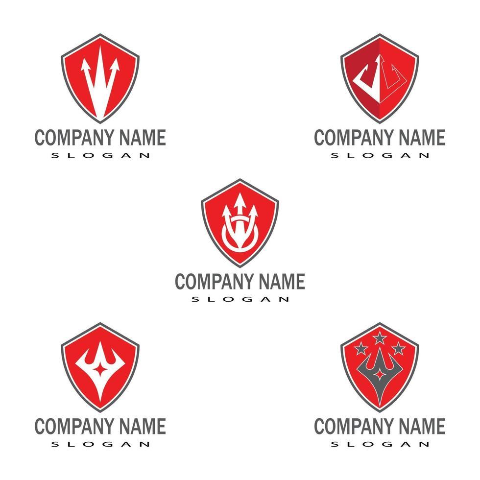 Diseño de ilustración de icono de vector de plantilla de logotipo de tridente
